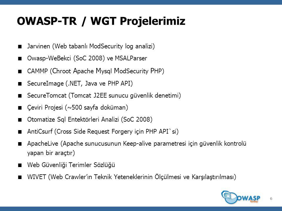 7 WebGoat  Güvenlik açıklıkları barındıran bir OWASP projesidir (J2EE ile yazılmıştır).
