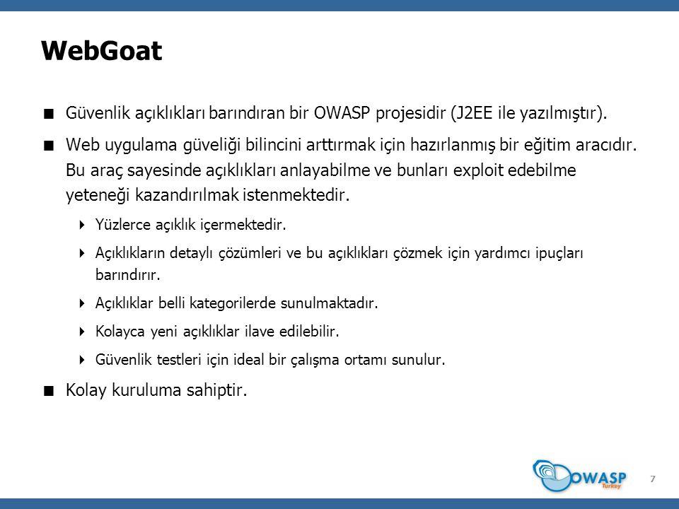 8 WebGoat Kurulumu  WebGoat Proje Sayfası: http://www.owasp.org/index.php/Category:OWASP_WebGoat_Project  WebGoat-OWASP_Standard-5.2 indirilir.