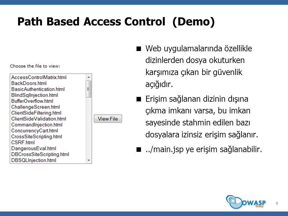 9 Path Based Access Control (Demo)  Web uygulamalarında özellikle dizinlerden dosya okuturken karşımıza çıkan bir güvenlik açığıdır.