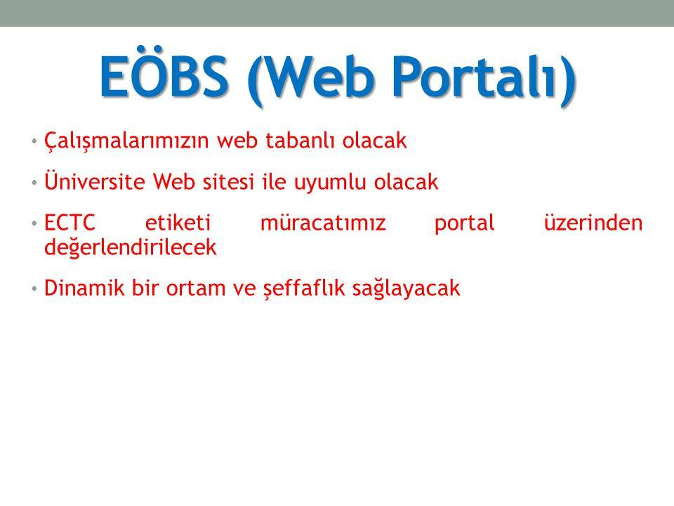 EÖBS (Web Portalı) Çalışmalarımızın web tabanlı olacak Üniversite Web sitesi ile uyumlu olacak ECTC etiketi müracatımız portal üzerinden değerlendirilecek Dinamik bir ortam ve şeffaflık sağlayacak