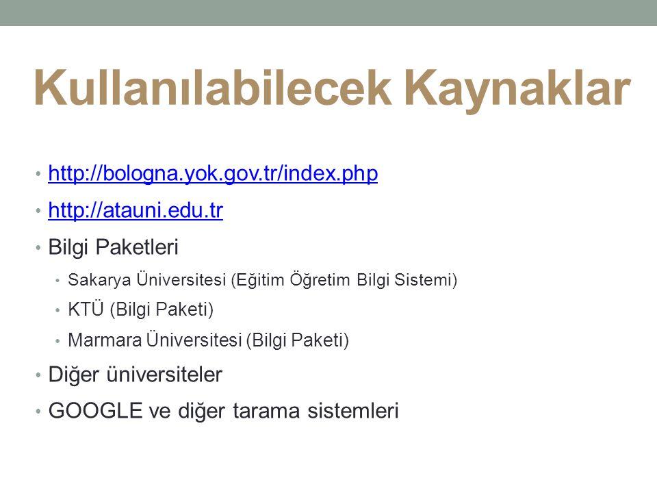 Kullanılabilecek Kaynaklar http://bologna.yok.gov.tr/index.php http://atauni.edu.tr Bilgi Paketleri Sakarya Üniversitesi (Eğitim Öğretim Bilgi Sistemi) KTÜ (Bilgi Paketi) Marmara Üniversitesi (Bilgi Paketi) Diğer üniversiteler GOOGLE ve diğer tarama sistemleri