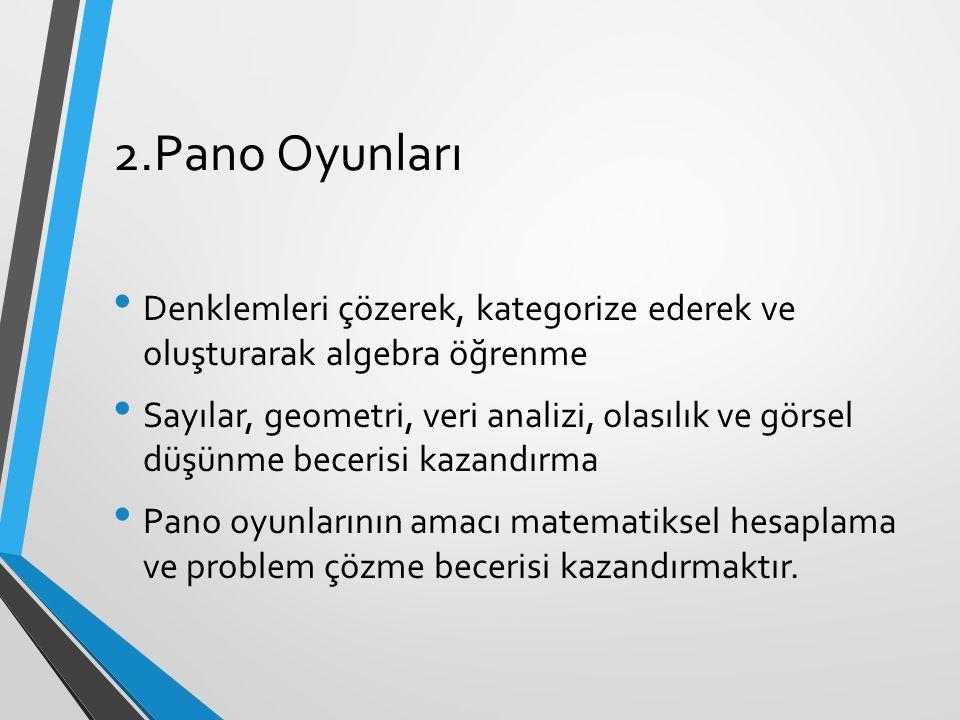 2.Pano Oyunları Denklemleri çözerek, kategorize ederek ve oluşturarak algebra öğrenme Sayılar, geometri, veri analizi, olasılık ve görsel düşünme bece