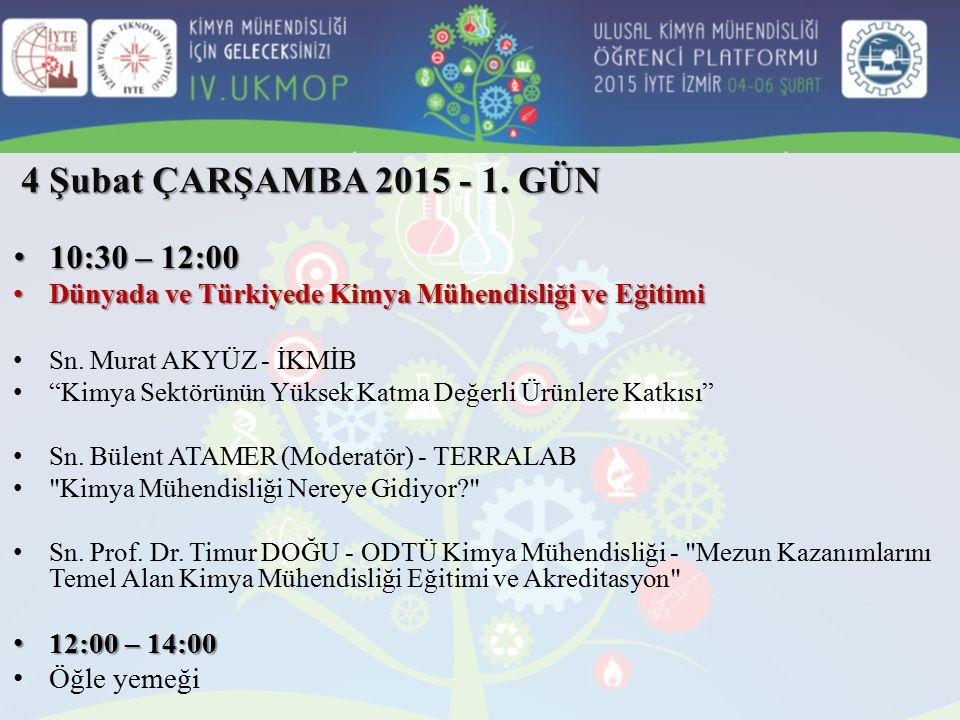 4 Şubat ÇARŞAMBA 2015 - 1. GÜN 10:30 – 12:00 10:30 – 12:00 Dünyada ve Türkiyede Kimya Mühendisliği ve Eğitimi Dünyada ve Türkiyede Kimya Mühendisliği