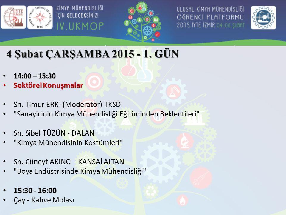 14:00 – 15:30 14:00 – 15:30 Sektörel Konuşmalar Sektörel Konuşmalar Sn. Timur ERK -(Moderatör) TKSD
