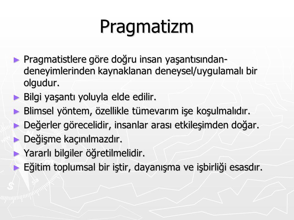 Pragmatizm ► Pragmatistlere göre doğru insan yaşantısından- deneyimlerinden kaynaklanan deneysel/uygulamalı bir olgudur. ► Bilgi yaşantı yoluyla elde