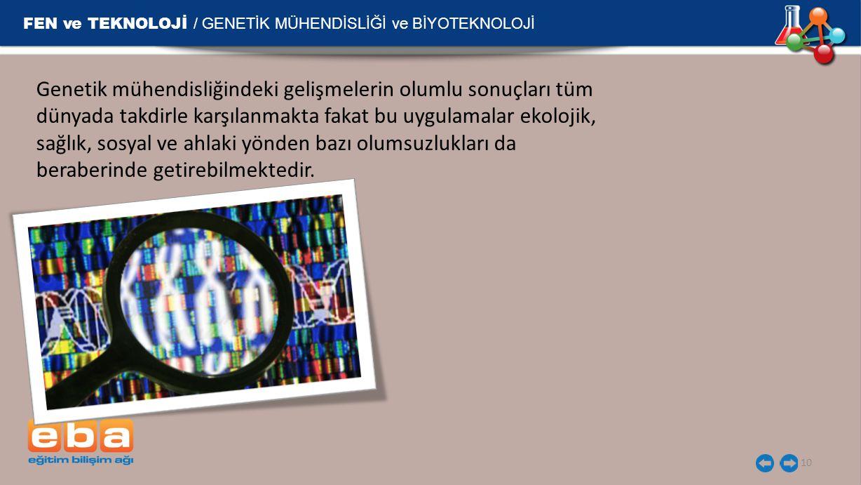 FEN ve TEKNOLOJİ / GENETİK MÜHENDİSLİĞİ ve BİYOTEKNOLOJİ 10 Genetik mühendisliğindeki gelişmelerin olumlu sonuçları tüm dünyada takdirle karşılanmakta