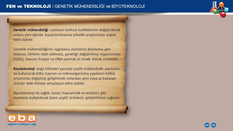 FEN ve TEKNOLOJİ / GENETİK MÜHENDİSLİĞİ ve BİYOTEKNOLOJİ 15 Genetik mühendisliği canlıların kalıtsal özelliklerinin değiştirilerek onlara yeni işlevle