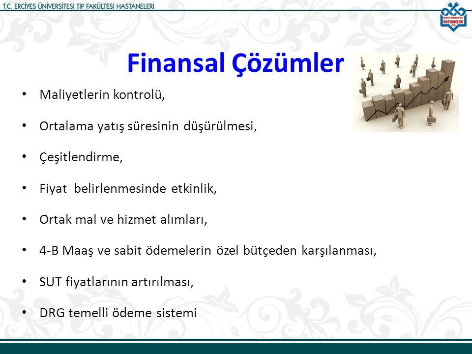 Finansal Çözümler Maliyetlerin kontrolü, Ortalama yatış süresinin düşürülmesi, Çeşitlendirme, Fiyat belirlenmesinde etkinlik, Ortak mal ve hizmet alım