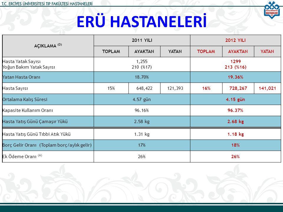 ERÜ HASTANELERİ AÇIKLAMA (D) 2011 YILI2012 YILI TOPLAMAYAKTANYATANTOPLAMAYAKTANYATAN Hasta Yatak Sayısı Yoğun Bakım Yatak Sayısı 1,255 210 (%17) 1299