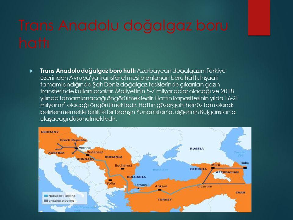 Trans Anadolu doğalgaz boru hattı  Trans Anadolu doğalgaz boru hattı Azerbaycan doğalgazını Türkiye üzerinden Avrupa'ya transfer etmesi planlanan bor