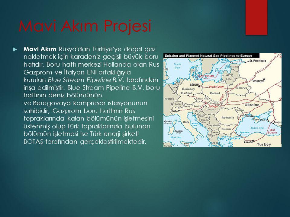 Mavi Akım Projesi  Mavi Akım Rusya'dan Türkiye'ye doğal gaz nakletmek için karadeniz geçişli büyük boru hatıdır. Boru hattı merkezi Hollanda olan Rus