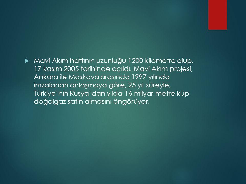  Mavi Akım hattının uzunluğu 1200 kilometre olup, 17 kasım 2005 tarihinde açıldı. Mavi Akım projesi, Ankara ile Moskova arasında 1997 yılında imzalan