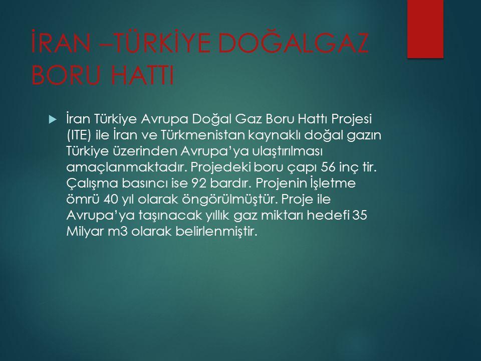 İRAN –TÜRKİYE DOĞALGAZ BORU HATTI  İran Türkiye Avrupa Doğal Gaz Boru Hattı Projesi (ITE) ile İran ve Türkmenistan kaynaklı doğal gazın Türkiye üzeri
