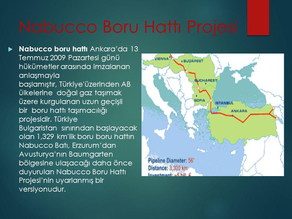 Nabucco Boru Hattı Projesi  Nabucco boru hattı Ankara'da 13 Temmuz 2009 Pazartesi günü hükümetler arasında imzalanan anlaşmayla başlamıştır, Türkiye'