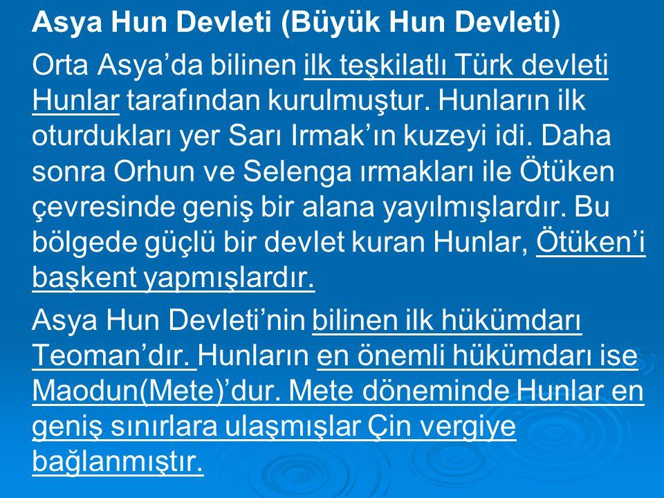 Asya Hun Devleti (Büyük Hun Devleti) Orta Asya'da bilinen ilk teşkilatlı Türk devleti Hunlar tarafından kurulmuştur. Hunların ilk oturdukları yer Sarı