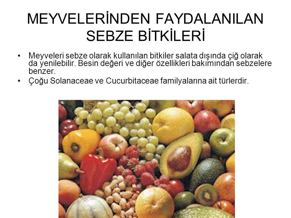 MEYVELERİNDEN FAYDALANILAN SEBZE BİTKİLERİ Meyveleri sebze olarak kullanılan bitkiler salata dışında çiğ olarak da yenilebilir. Besin değeri ve diğer