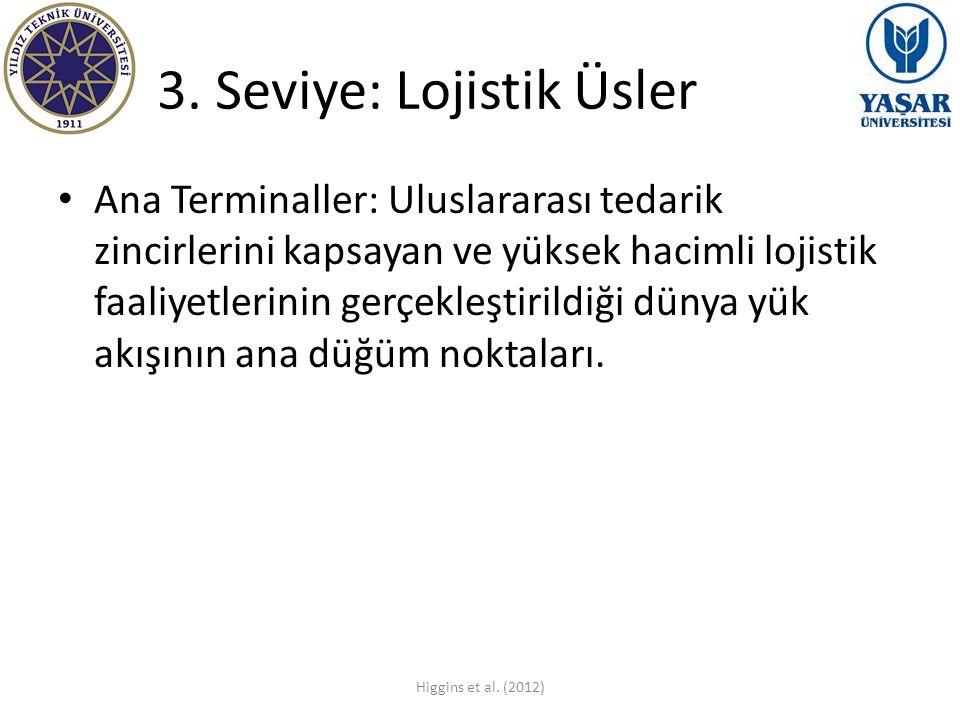 3. Seviye: Lojistik Üsler Ana Terminaller: Uluslararası tedarik zincirlerini kapsayan ve yüksek hacimli lojistik faaliyetlerinin gerçekleştirildiği dü
