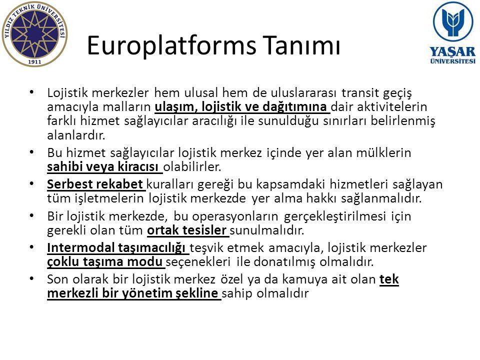 Europlatforms Tanımı Lojistik merkezler hem ulusal hem de uluslararası transit geçiş amacıyla malların ulaşım, lojistik ve dağıtımına dair aktiviteler