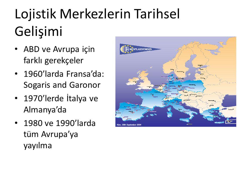 Lojistik Merkezlerin Tarihsel Gelişimi ABD ve Avrupa için farklı gerekçeler 1960'larda Fransa'da: Sogaris and Garonor 1970'lerde İtalya ve Almanya'da