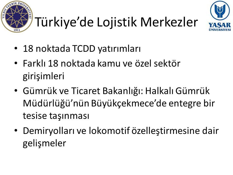 Türkiye'de Lojistik Merkezler 18 noktada TCDD yatırımları Farklı 18 noktada kamu ve özel sektör girişimleri Gümrük ve Ticaret Bakanlığı: Halkalı Gümrü