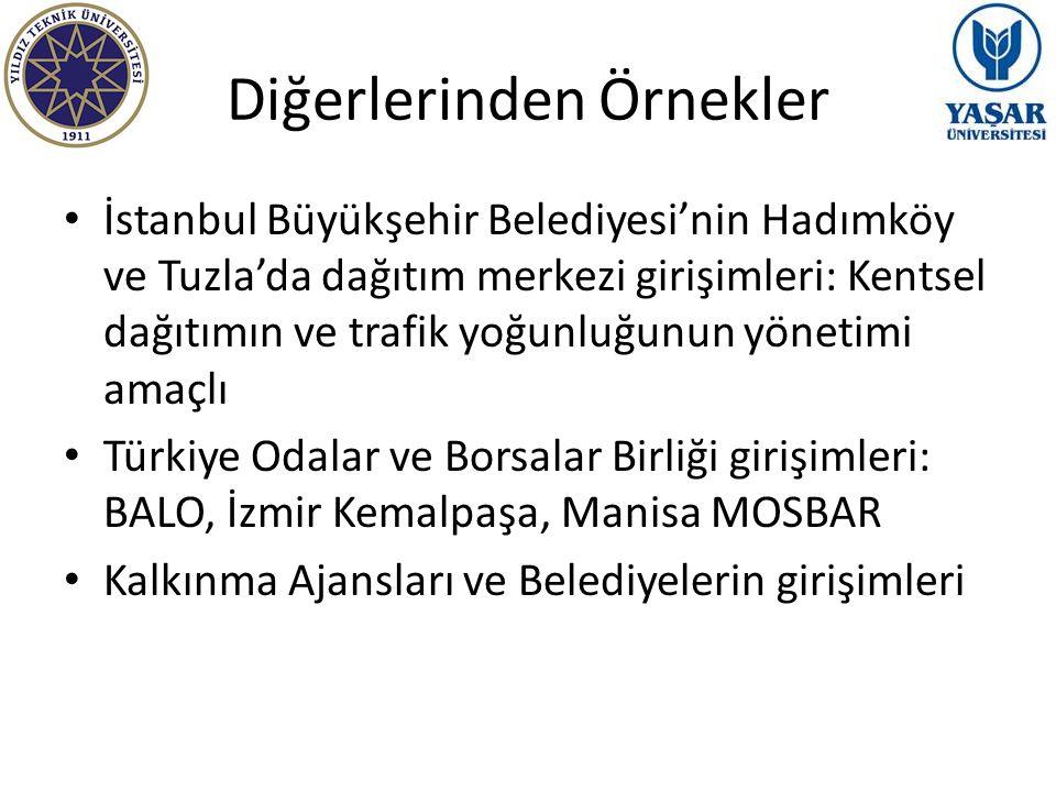 Diğerlerinden Örnekler İstanbul Büyükşehir Belediyesi'nin Hadımköy ve Tuzla'da dağıtım merkezi girişimleri: Kentsel dağıtımın ve trafik yoğunluğunun y