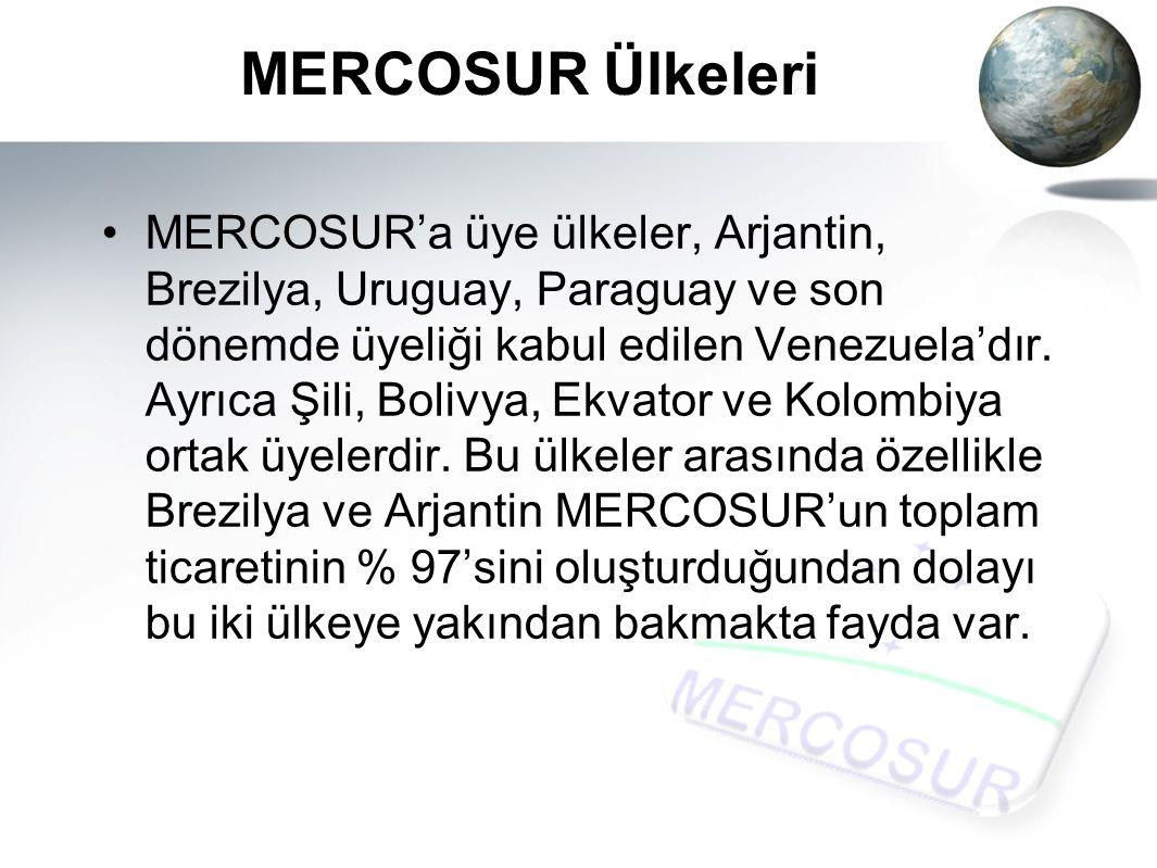 MERCOSUR Ülkeleri MERCOSUR'a üye ülkeler, Arjantin, Brezilya, Uruguay, Paraguay ve son dönemde üyeliği kabul edilen Venezuela'dır.