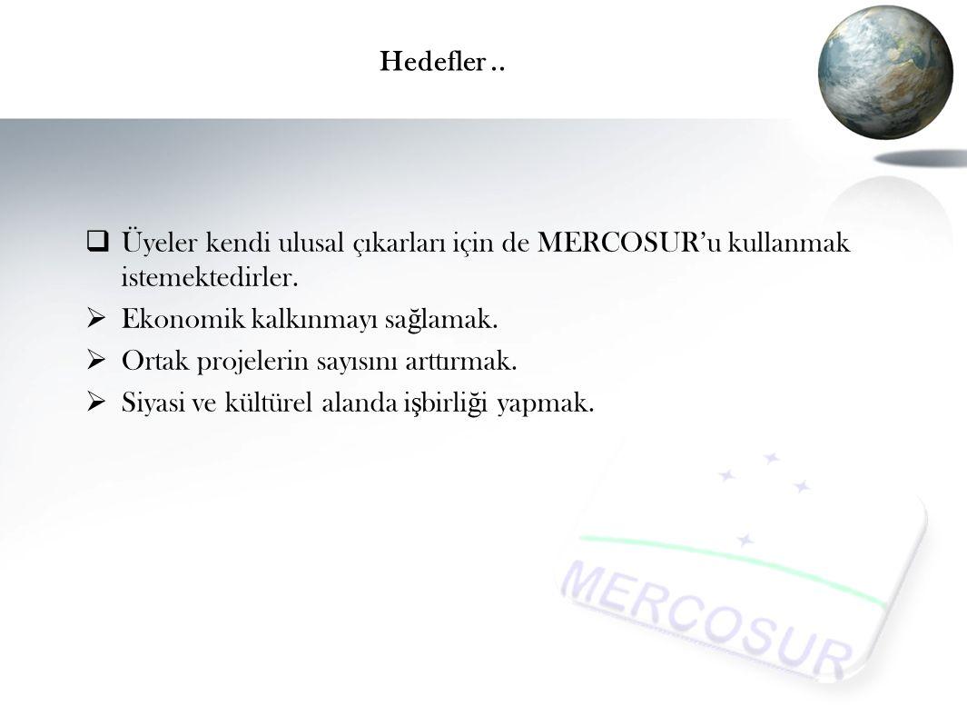 Hedefler..ÜÜyeler kendi ulusal çıkarları için de MERCOSUR'u kullanmak istemektedirler.