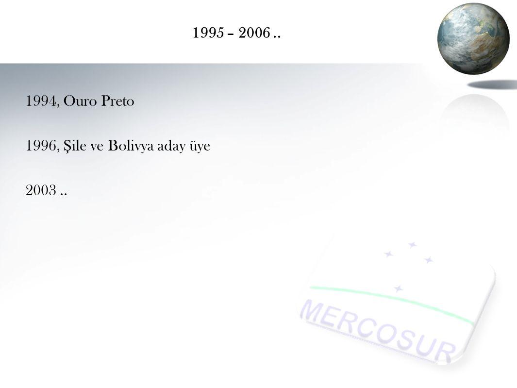 1995 – 2006.. 1994, Ouro Preto 1996, Ş ile ve Bolivya aday üye 2003..