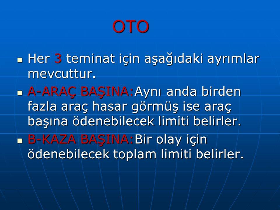 OTO Her 3 teminat için aşağıdaki ayrımlar mevcuttur. Her 3 teminat için aşağıdaki ayrımlar mevcuttur. A-ARAÇ BAŞINA:Aynı anda birden fazla araç hasar