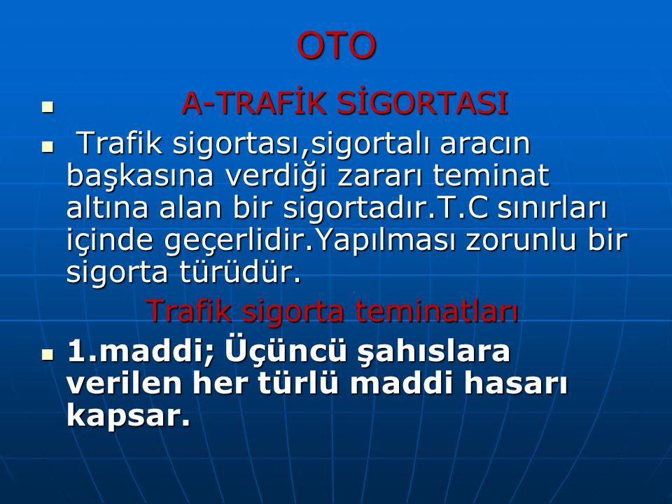 OTO A-TRAFİK SİGORTASI A-TRAFİK SİGORTASI Trafik sigortası,sigortalı aracın başkasına verdiği zararı teminat altına alan bir sigortadır.T.C sınırları