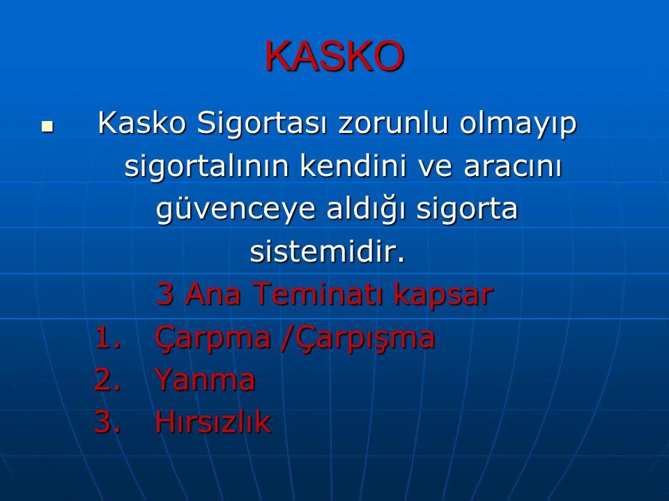 KASKO Kasko Sigortası zorunlu olmayıp Kasko Sigortası zorunlu olmayıp sigortalının kendini ve aracını sigortalının kendini ve aracını güvenceye aldığı