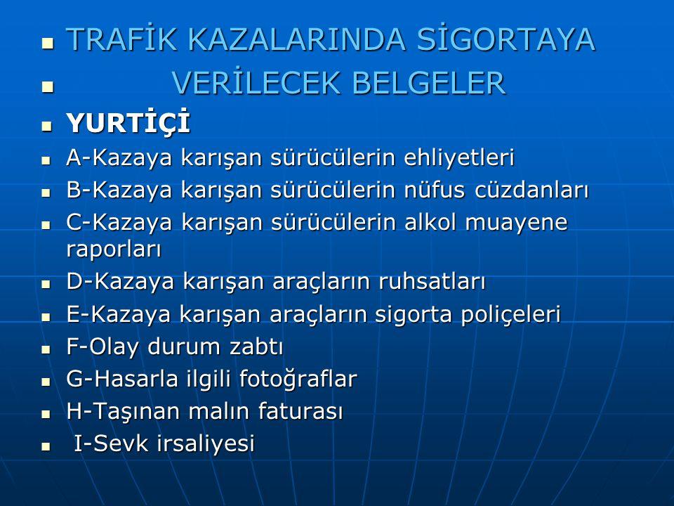 TRAFİK KAZALARINDA SİGORTAYA TRAFİK KAZALARINDA SİGORTAYA VERİLECEK BELGELER VERİLECEK BELGELER YURTİÇİ YURTİÇİ A-Kazaya karışan sürücülerin ehliyetle
