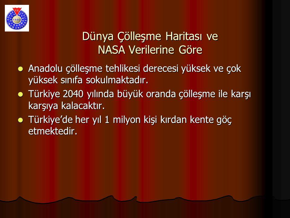 Dünya Çölleşme Haritası ve NASA Verilerine Göre Anadolu çölleşme tehlikesi derecesi yüksek ve çok yüksek sınıfa sokulmaktadır.