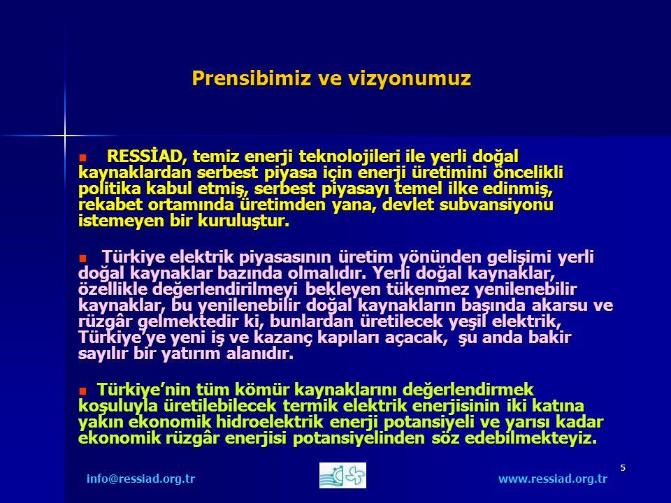 26 Öneriler 5) Türkiye'de hiçbir ek teşvik olmadan bugünkü mevzuatla özel sektörün gönüllü yapabileceği hidroelektrik ve rüzgâr projeleri vardır.