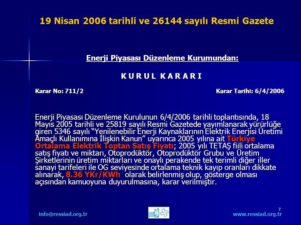 7 19 Nisan 2006 tarihli ve 26144 sayılı Resmi Gazete Enerji Piyasası Düzenleme Kurumundan: Enerji Piyasası Düzenleme Kurumundan: K U R U L K A R A R I Karar No: 711/2 Karar Tarihi: 6/4/2006 Enerji Piyasası Düzenleme Kurulunun 6/4/2006 tarihli toplantısında, 18 Mayıs 2005 tarihli ve 25819 sayılı Resmi Gazetede yayımlanarak yürürlüğe giren 5346 sayılı Yenilenebilir Enerji Kaynaklarının Elektrik Enerjisi Üretimi Amaçlı Kullanımına İlişkin Kanun uyarınca 2005 yılına ait Türkiye Ortalama Elektrik Toptan Satış Fiyatı; 2005 yılı TETAŞ fiili ortalama satış fiyatı ve miktarı, Otoprodüktör, Otoprodüktör Grubu ve Üretim Şirketlerinin üretim miktarları ve onaylı perakende tek terimli diğer iller sanayi tarifeleri ile OG seviyesinde ortalama teknik kayıp oranları dikkate alınarak, 8.36 YKr/KWh olarak belirlenmiş olup, gösterge olması açısından kamuoyuna duyurulmasına, karar verilmiştir.