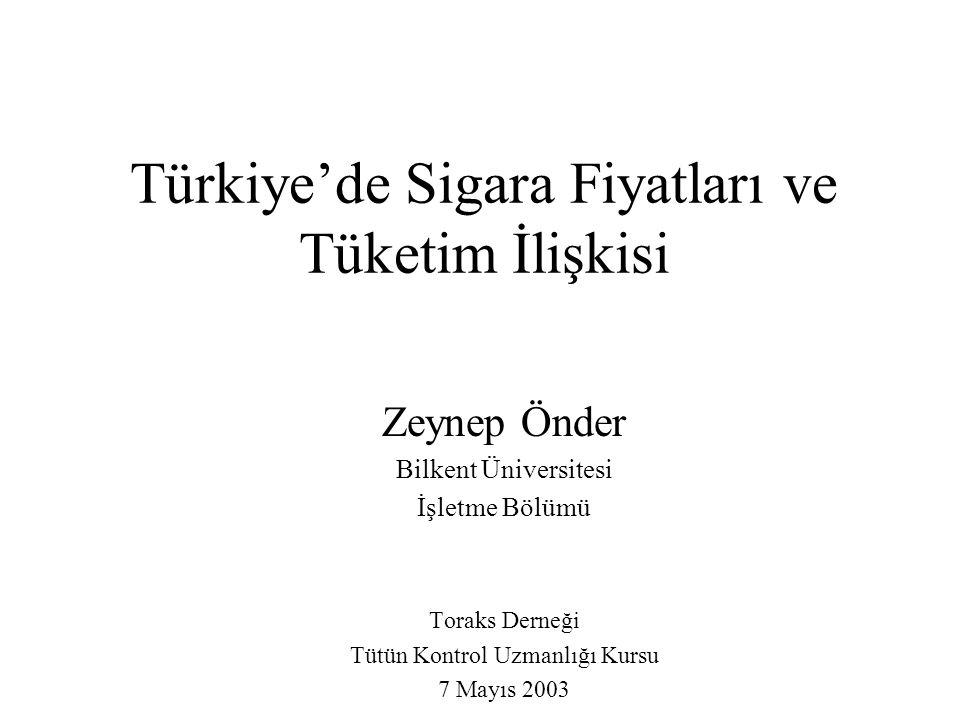 Türkiye'de Sigara Fiyatları ve Tüketim İlişkisi Zeynep Önder Bilkent Üniversitesi İşletme Bölümü Toraks Derneği Tütün Kontrol Uzmanlığı Kursu 7 Mayıs