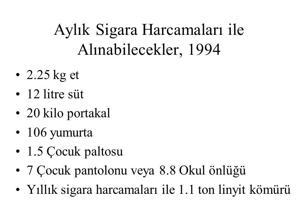 Aylık Sigara Harcamaları ile Alınabilecekler, 1994 2.25 kg et 12 litre süt 20 kilo portakal 106 yumurta 1.5 Çocuk paltosu 7 Çocuk pantolonu veya 8.8 O