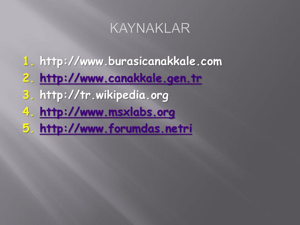 1.http://www.burasicanakkale.com 2. http://www.canakkale.gen.tr http://www.canakkale.gen.tr 3.