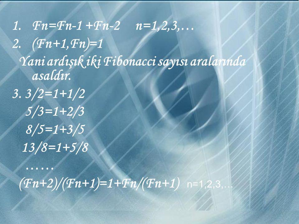 Burada matematiksel olarak Fibonacci sayılarının özelliklerine de değinmek istersek şöyle verebiliriz: