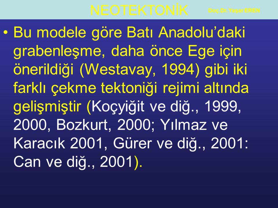 NEOTEKTONİK Doç.Dr. Yaşar EREN Bu modele göre Batı Anadolu'daki grabenleşme, daha önce Ege için önerildiği (Westavay, 1994) gibi iki farklı çekme tekt