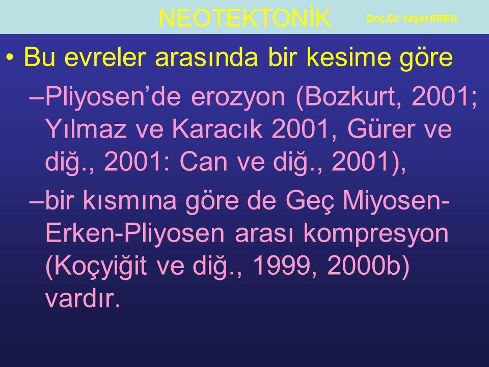 NEOTEKTONİK Doç.Dr. Yaşar EREN Bu evreler arasında bir kesime göre –Pliyosen'de erozyon (Bozkurt, 2001; Yılmaz ve Karacık 2001, Gürer ve diğ., 2001: C