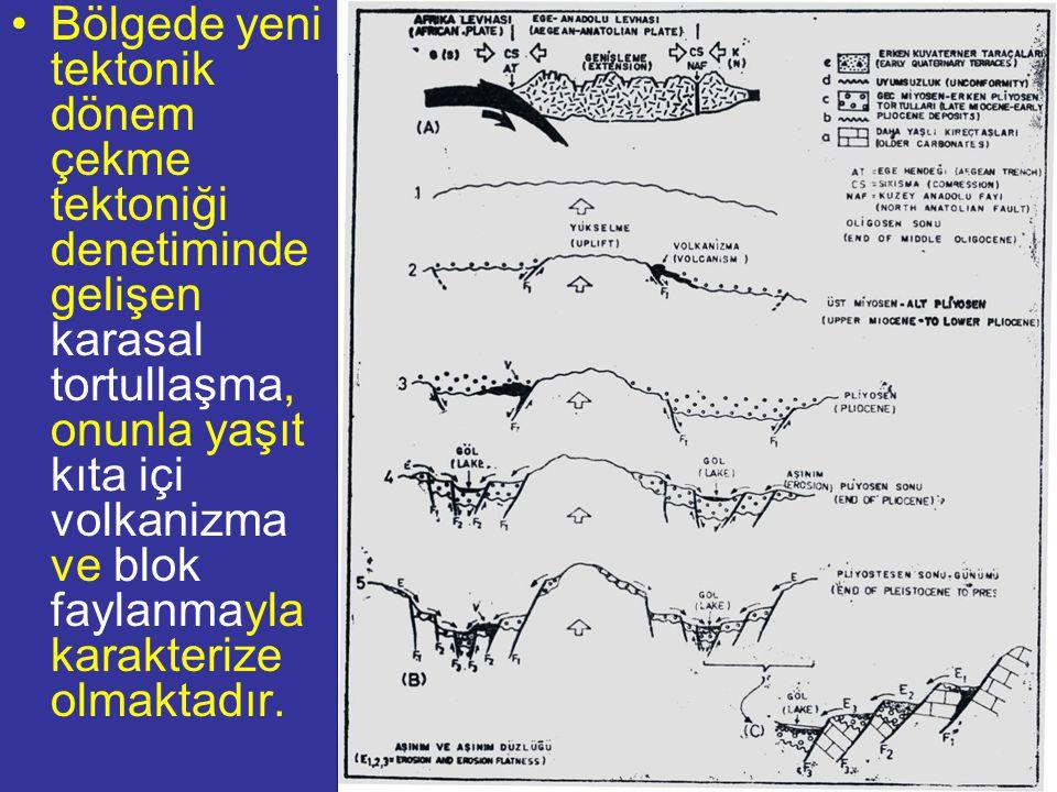 NEOTEKTONİK Doç.Dr. Yaşar EREN Bölgede yeni tektonik dönem çekme tektoniği denetiminde gelişen karasal tortullaşma, onunla yaşıt kıta içi volkanizma v