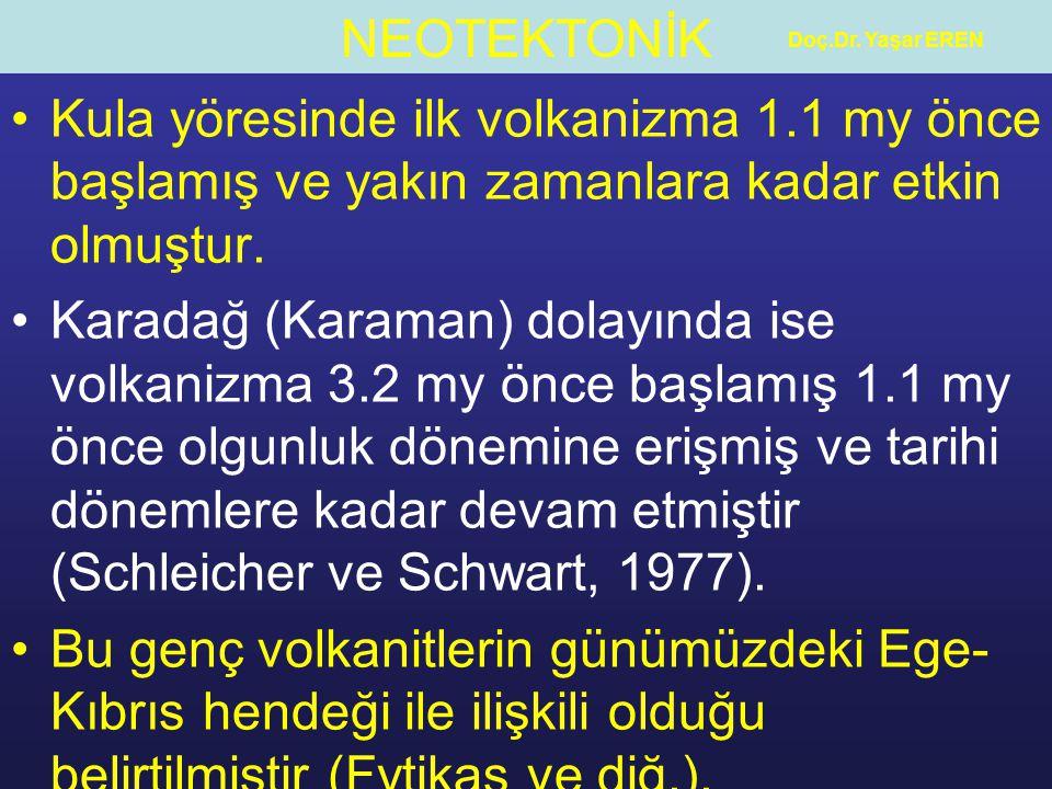NEOTEKTONİK Doç.Dr. Yaşar EREN Kula yöresinde ilk volkanizma 1.1 my önce başlamış ve yakın zamanlara kadar etkin olmuştur. Karadağ (Karaman) dolayında