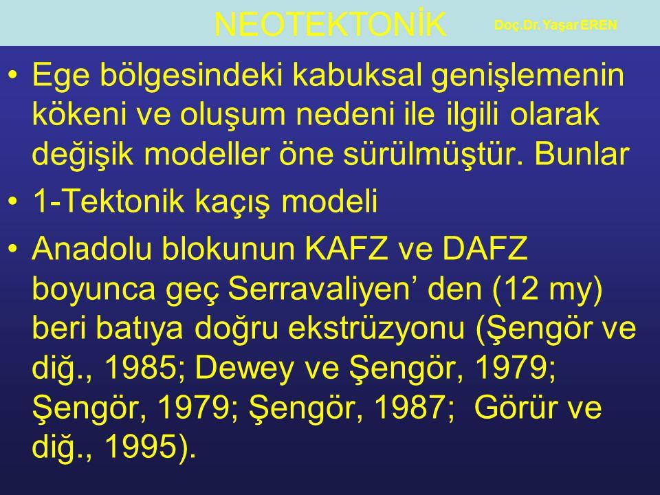 NEOTEKTONİK Doç.Dr. Yaşar EREN Ege bölgesindeki kabuksal genişlemenin kökeni ve oluşum nedeni ile ilgili olarak değişik modeller öne sürülmüştür. Bunl