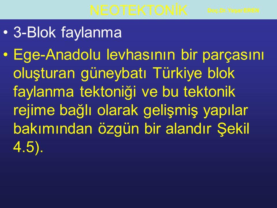NEOTEKTONİK Doç.Dr. Yaşar EREN 3-Blok faylanma Ege-Anadolu levhasının bir parçasını oluşturan güneybatı Türkiye blok faylanma tektoniği ve bu tektonik