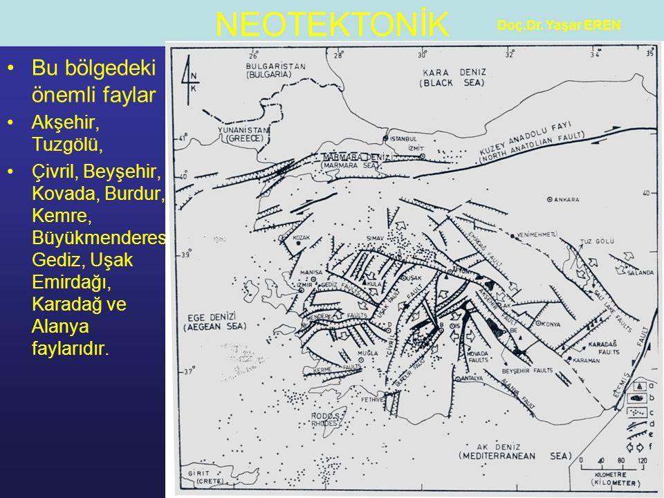 NEOTEKTONİK Doç.Dr. Yaşar EREN Bu bölgedeki önemli faylar Akşehir, Tuzgölü, Çivril, Beyşehir, Kovada, Burdur, Kemre, Büyükmenderes Gediz, Uşak Emirdağ
