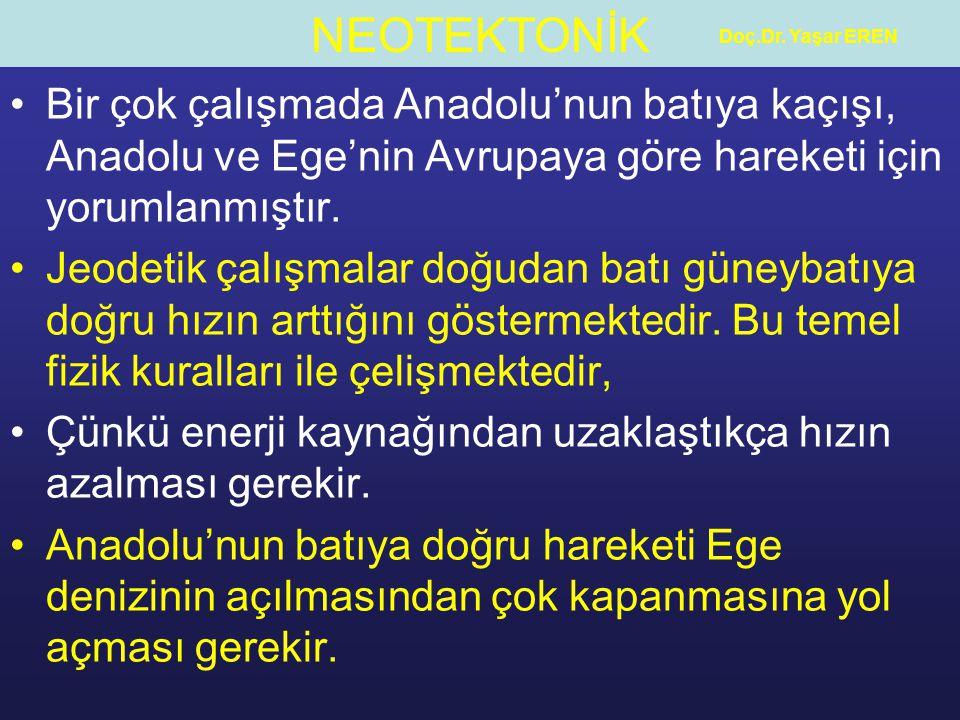 NEOTEKTONİK Doç.Dr. Yaşar EREN Bir çok çalışmada Anadolu'nun batıya kaçışı, Anadolu ve Ege'nin Avrupaya göre hareketi için yorumlanmıştır. Jeodetik ça
