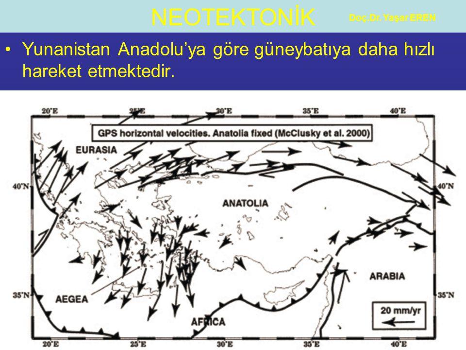 NEOTEKTONİK Doç.Dr. Yaşar EREN Yunanistan Anadolu'ya göre güneybatıya daha hızlı hareket etmektedir.