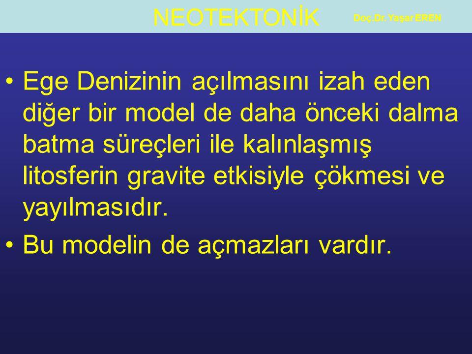 NEOTEKTONİK Doç.Dr. Yaşar EREN Ege Denizinin açılmasını izah eden diğer bir model de daha önceki dalma batma süreçleri ile kalınlaşmış litosferin grav