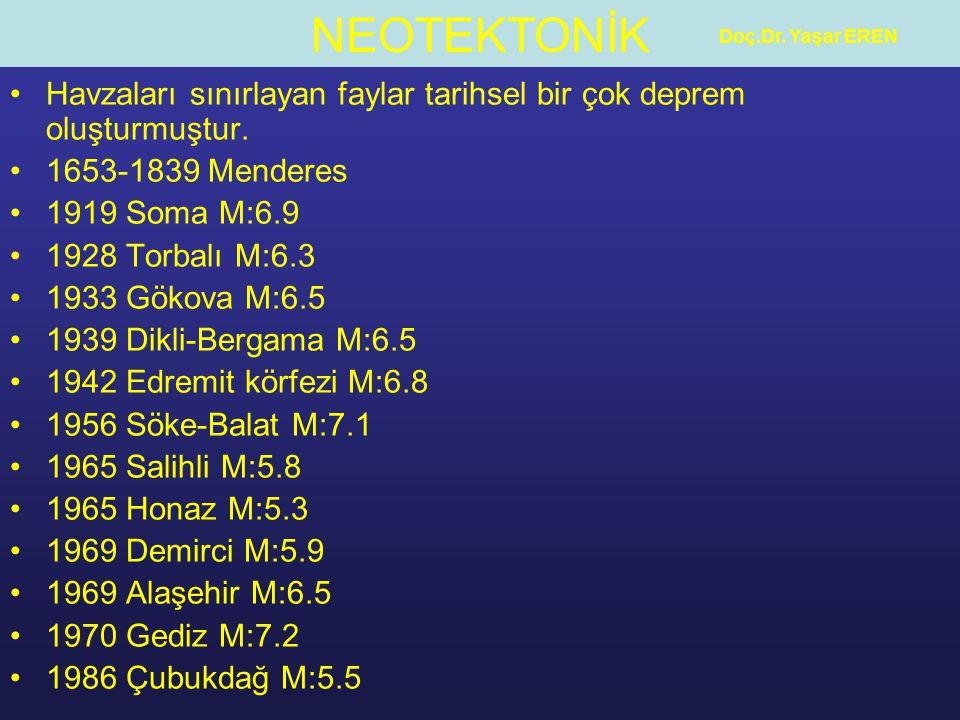 NEOTEKTONİK Doç.Dr. Yaşar EREN Havzaları sınırlayan faylar tarihsel bir çok deprem oluşturmuştur. 1653-1839 Menderes 1919 Soma M:6.9 1928 Torbalı M:6.